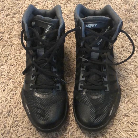 And1 Boys Size 4 High Top Athletic Shoe Black Gray Lace Up Sneakers New